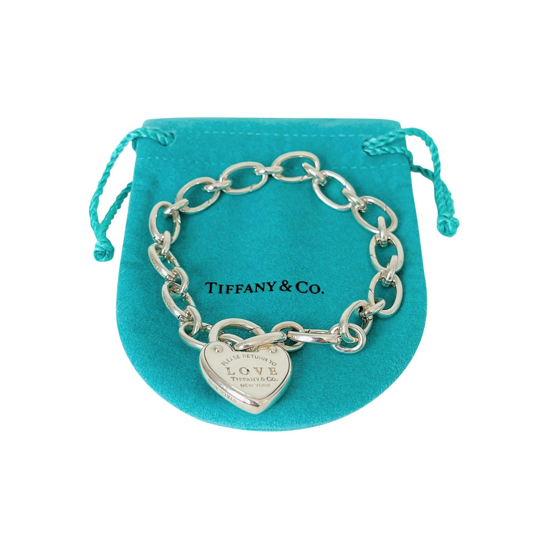 Tiffany & Co. Return to Tiffany Love Lock Silver Bracelet with Pouch