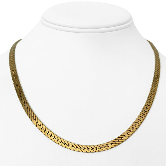 14k Yellow Gold 33g Thick 5mm Herringbone Link Chain Necklace UnoAErre Italy 18