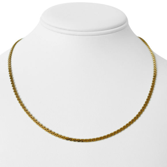 14k Yellow Gold 11.8g Solid Serpentine S Link Link Chain Necklace Italy 17.5