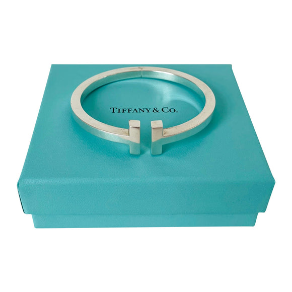 Tiffany & Co. Sterling Silver T Square Bangle Bracelet with Box Size Large 7