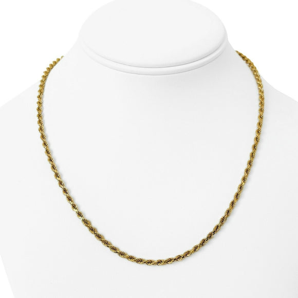 14k Yellow Gold 16g Solid Diamond Cut 3mm Rope Chain Necklace 18