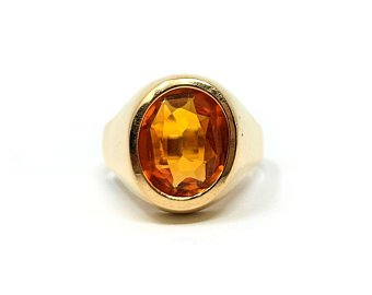 18k Solid Yellow Gold 3.4ct Bezel Set Oval Cut Orange Citrine Size 8