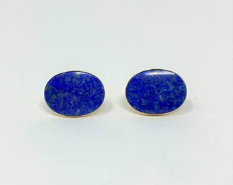 14k Yellow Gold Vintage Blue Oval Lapis Lazuli Stud Earrings