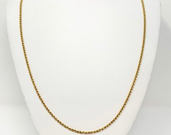 14k Yellow Gold Hollow Thin 2mm Rope Chain Necklace Italy 30 Inches