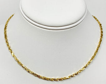 14k Solid Yellow Gold 2.5mm Squared Rope Chain Necklace 16 Inches