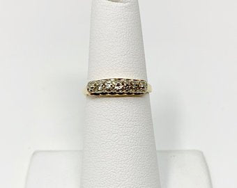 14k Yellow Gold and Diamond Vintage Wedding Anniversary Band Ring Size 5.5