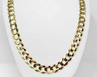10k Solid Yellow Gold 76g Heavy 12.5mm Curb Link Chain Necklace 26 Inches