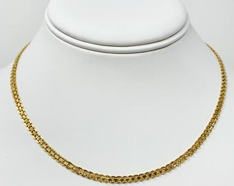 14k Yellow Gold 3mm Fancy Bismark Link Chain Necklace Italy 16 Inches