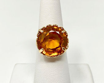 18k Yellow Gold Large Orange Sapphire Cocktail Ring Italy Size 7