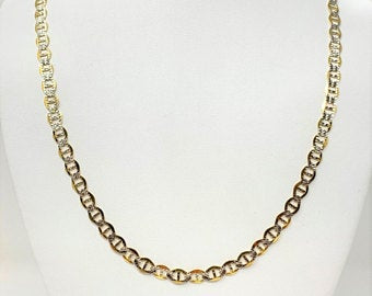 14k Yellow White Gold Two Tone Diamond Cut Gucci Mariner Link Chain Necklace 22
