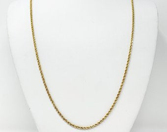 14k Solid Yellow Gold 10g Diamond Cut 2mm Rope Chain Necklace 24 Inches