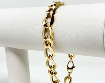 10k Yellow Gold Hollow Light 9mm Fancy Curb Link Chain Bracelet Italy 8