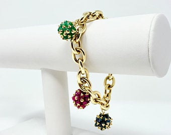 14k Yellow Gold Ruby Emerald Sapphire Cluster Cable Link Bracelet Italy 7.5""