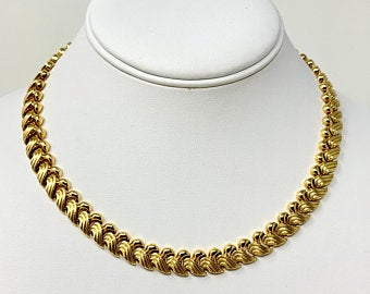 14k Yellow Gold 36g Fancy Link Wave Design Chain Necklace Italy 17