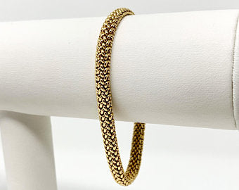 14k Yellow Gold Solid 14.2g Fancy Mesh Link Bracelet 7 Inches