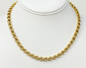 18k Yellow Gold Heavy 68.5g Polished Rolo Cable Link Chain Necklace Italy 16.5