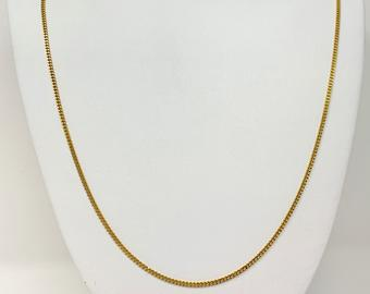 18k Yellow Gold Solid Thin 1.5mm Cuban Curb Link Chain Necklace 28 Inches