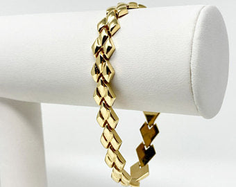 14k Yellow Gold Ladies Fancy Polished V Link Bracelet Italy 7.25 Inches