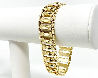 14k Yellow Gold Wide 17mm Ladies Fancy Link Aurafin Bracelet Italy 7.5