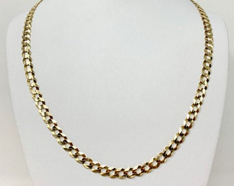 14k Yellow Gold 24.2g Solid Flat 7mm Curb Link Chain Necklace Italy 23