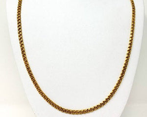 19k Portugese Yellow Gold Solid 33.9g Double Circle Curb Link Chain Necklace 25""