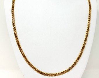 19k Portugese Yellow Gold Solid 33.9g Double Circle Curb Link Chain Necklace 25