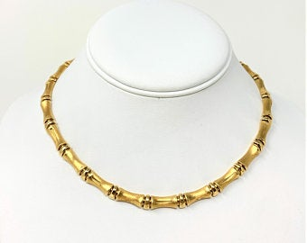 RESERVED - 14k Yellow Gold 30.5g Bamboo Link Designer Aurafin Necklace Italy 16