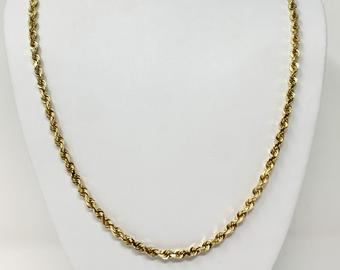 14k Yellow Gold 40.6g Solid Heavy Diamond Cut 4mm Rope Chain Necklace 24