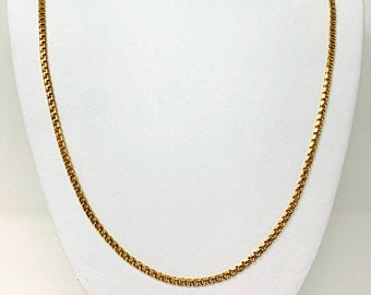 19k Portugese Yellow Gold Solid 19g Double Circle Curb Link Chain Necklace 28