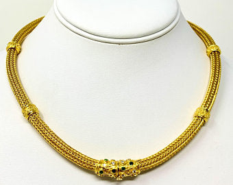 18k Yellow Gold Diamond Emerald Fancy Mesh Wheat Necklace 17.5