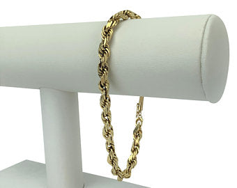 14k Yellow Gold 18.6g Men's Solid Heavy 5mm Rope Chain Bracelet 8.5