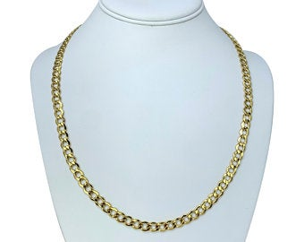 14k Yellow Gold Polished Hollow 6mm Curb Link Chain Necklace Turkey 22