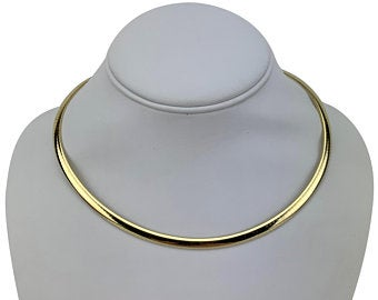 14k Yellow Gold 22.2g Solid Aurafin 4.5mm Omega Link Collar Necklace 16
