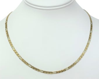 14k Yellow Gold 7.6g Solid 3mm Figarucci Figaro Gucci Link Chain Necklace 18