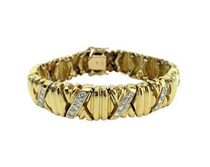 14k Yellow Gold 34.7g and 1.3ct Diamond X Link Ladies Bracelet 6.5""
