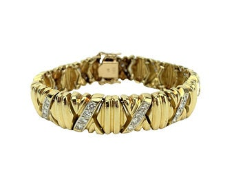 14k Yellow Gold 34.7g and 1.3ct Diamond X Link Ladies Bracelet 6.5
