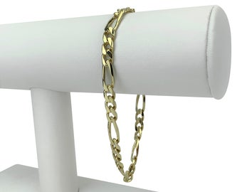 14k Yellow Gold 14.4g Solid 5.5mm Figaro Link Chain Bracelet 8.25