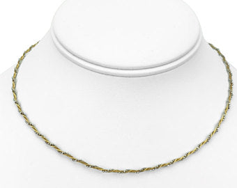 18k Yellow White Gold Beaded Twisted Rope Choker Necklace 15