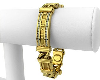 Tiffany & Co. 18k Yellow Gold and 1ct Diamond Atlas Link Bracelet Italy 7.5