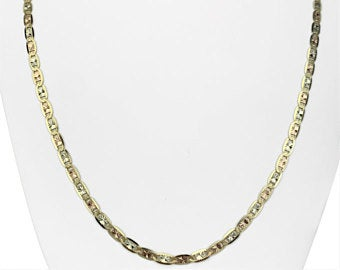 14k Yellow White Rose Gold Diamond Cut Gucci Mariner Link Chain Necklace 24