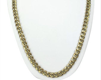 10k Yellow Gold 35.3g Hollow Diamond Cut 8.5mm Curb Link Chain Necklace 29