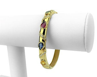 18k Yellow Gold 22.3g Diamond and Colored Sapphire Bangle Bracelet 7