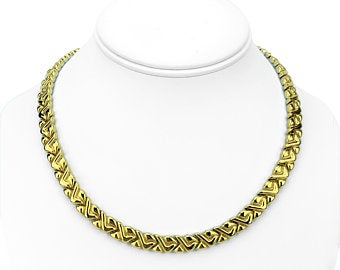 Chimento 18k Yellow White Gold Reversible Ladies Fancy Link Necklace Italy 18