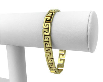 Milor 14k Yellow Gold 15.8g Ladies 8.5mm Greek Key Link Bracelet Italy 7.25