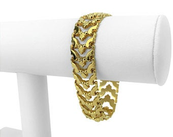 14k Italian Yellow Gold 15.8g Aurafin Ladies Fancy Link Bracelet Italy 7