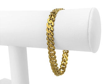 22k Yellow Gold 19.3g Solid Diamond Cut Curb Link Chain Bracelet 7