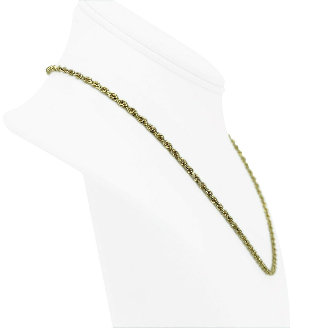 14k Yellow Gold 11.3g Solid Diamond Cut 2.5mm Rope Chain Necklace 18""