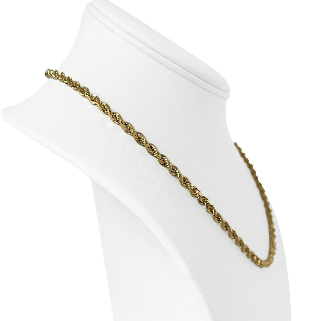 14k Yellow Gold 20.3g Solid Diamond Cut 3.5mm Rope Chain Necklace 18""