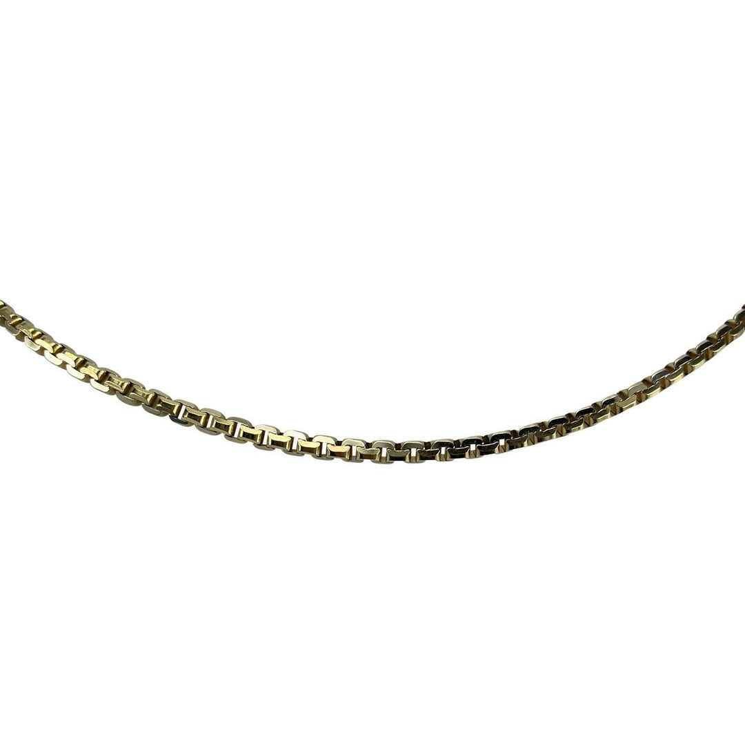 14k Yellow Gold 27.3g Heavy Solid Box Squared Cobra Link Chain Necklace 20.5""