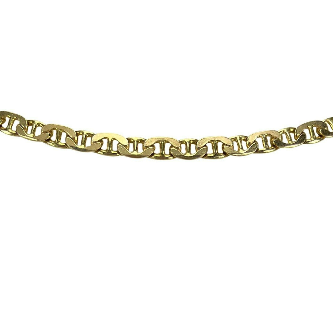 14k Yellow Gold 21.5g Solid 4mm Mariner Gucci Link Chain Necklace Italy 25""